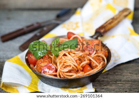 spaghetti a bolognese with meat balls - stock photo