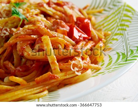 Spaghetti allamatriciana.traditional Italian pasta sauce .Originating from the town of Amatrice.