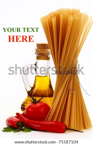 Spaghetti and ear of wheat - stock photo
