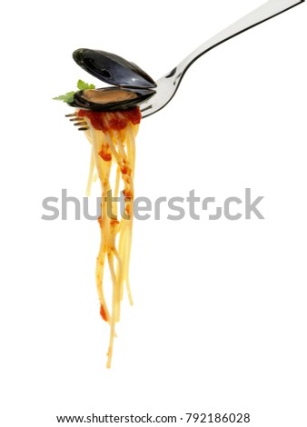 spaghetti and fork isolated