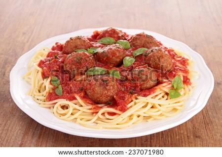 spaghetti and meatball - stock photo