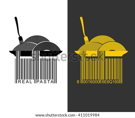 Spaghetti bar code. EAN-13 barcode pasta. Creative mark for packaging pasta. Plate with pasta. Spaghetti hang from plate. Fork and food