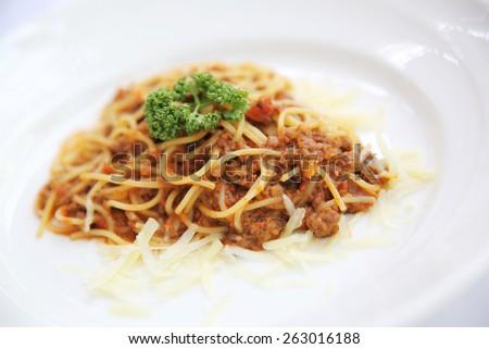 spaghetti beef bolognese  - stock photo