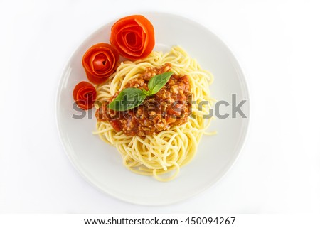 Spaghetti Bolognese Isolated on white background