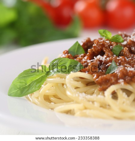 Spaghetti Bolognese noodles pasta meal with tomatoes and ground meat on a plate - stock photo
