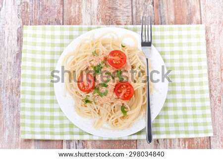 spaghetti bolognese on a white plate, top view, horizontal - stock photo