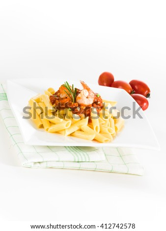Spaghetti Bolognese on white table