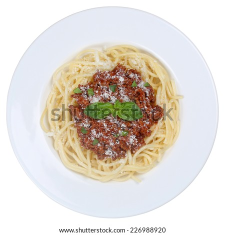 Spaghetti Bolognese or Bolognaise noodles pasta meal on a plate isolated - stock photo