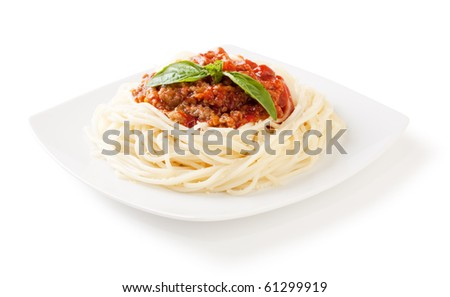 Spaghetti bolognese with cheese and basil on a white backgroundand with soft shadow