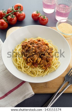 Spaghetti bolognese with ground chicken and mushroom - stock photo