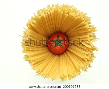 Spaghetti bunch  and cherry tomatoes  isolated on white  background - stock photo