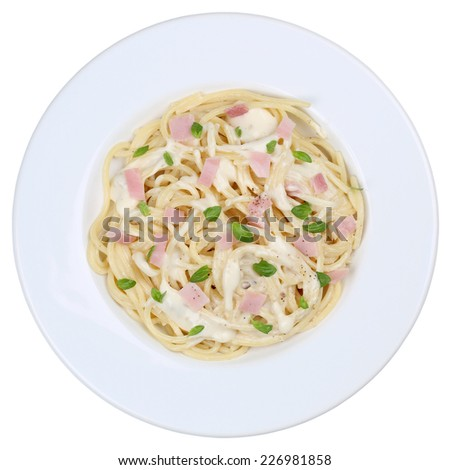 Spaghetti Carbonara noodles pasta meal on a plate isolated on a white background - stock photo