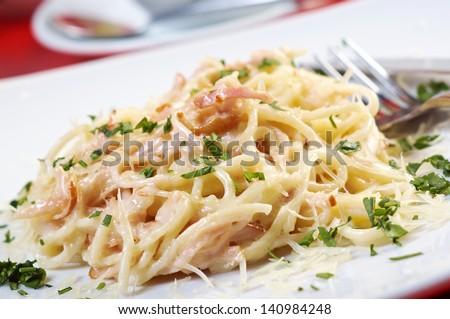 spaghetti carbonara on bowl.closeup - stock photo