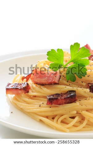 Spaghetti Carbonara on the white plate
