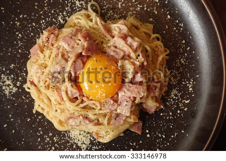 Spaghetti Carbonara with bacon and cheese - stock photo
