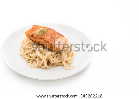 spaghetti cream sauce with grilled salmon