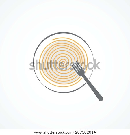 Spaghetti icon - stock photo