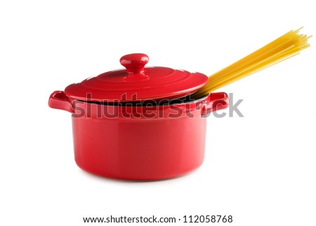 spaghetti in a red pot on white background - stock photo