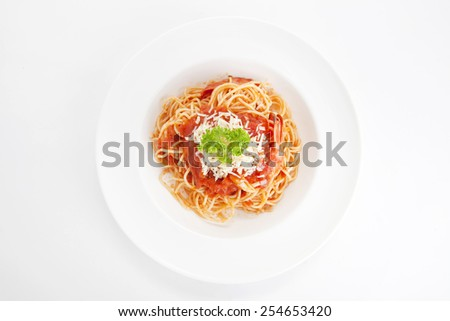 Spaghetti in red sauce with shrimps,top view - stock photo