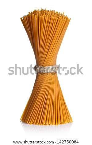 Spaghetti isolated on white background. Bunch of whole wheat pasta tied up by rope - stock photo