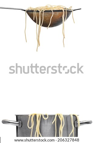 spaghetti noodles in colander and pasta pot white background - stock photo
