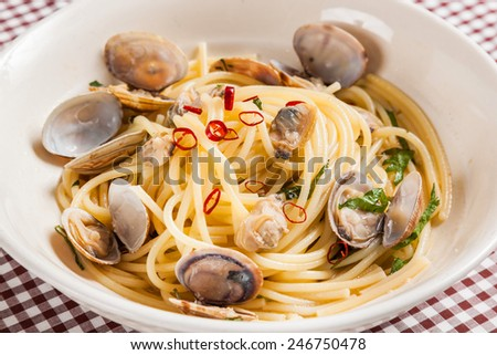 Spaghetti of the short-necked clam vongole  Italian food - stock photo