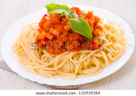 Spaghetti on white plate