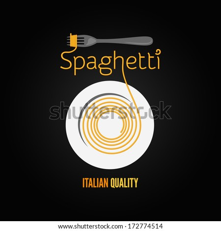 spaghetti pasta plate fork design menu background illustration - stock photo