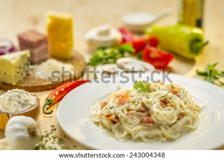 Spaghetti pasta with carbonara sauce - stock photo