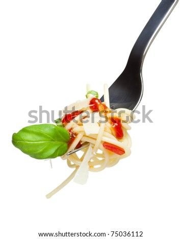 spaghetti pasta with tomato sauce, basil and grated parmesan on a fork, isolated on white