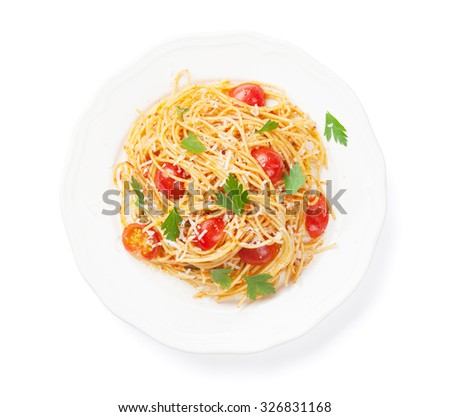 Spaghetti pasta with tomatoes and parsley. Isolated on white background - stock photo