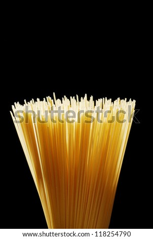Spaghetti rods circular arrangement isolated on black