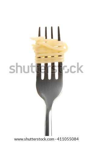 Spaghetti rolled on fork isolated on white - stock photo