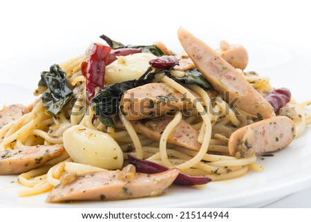 spaghetti sausage - stock photo