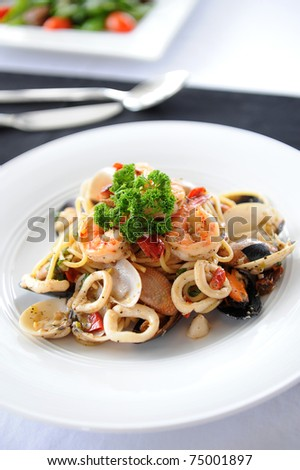 spaghetti seafood - stock photo