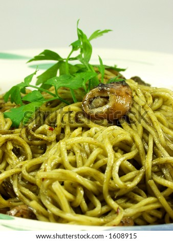 spaghetti whit squid and ink sauce