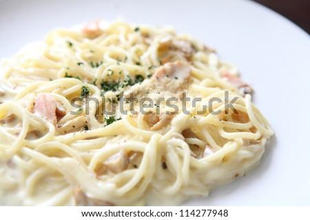 spaghetti white sauce with salmon - stock photo
