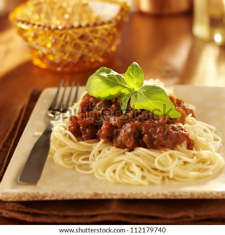 Spaghetti with basil garnish and tomato sauce. - stock photo