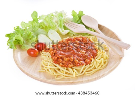 Spaghetti with chicken in tomato sauce, selective focus - stock photo