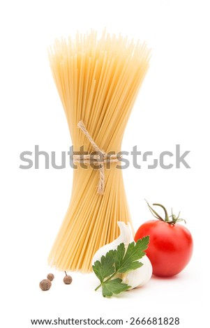 Spaghetti with garlic parsley and tomato