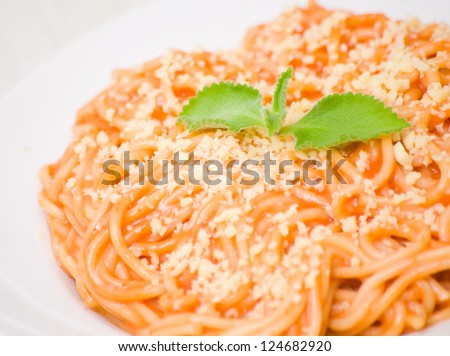 spaghetti with ketchup and mayonnaise - stock photo