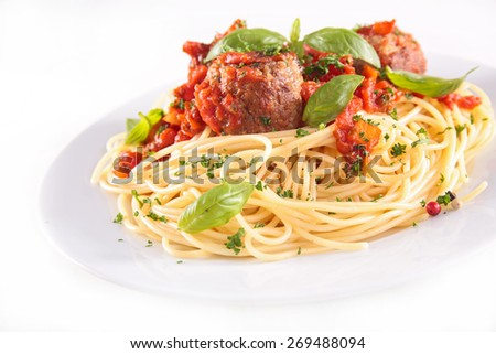 spaghetti with meatball and tomato sauce - stock photo