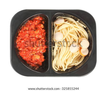 Spaghetti with red tomato sauce in a plastic box