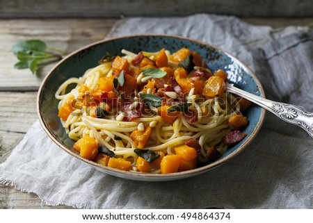 Spaghetti with roast butternut squash, bacon and sage