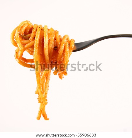 Spaghetti with sauce bolognese hanging on a fork - stock photo