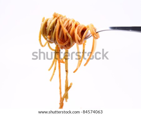 Spaghetti with sauce hanging on a fork