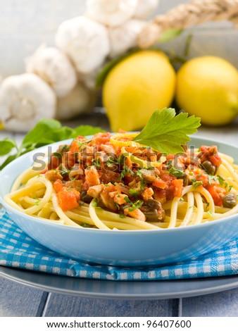 spaghetti with swordfish ragout - stock photo