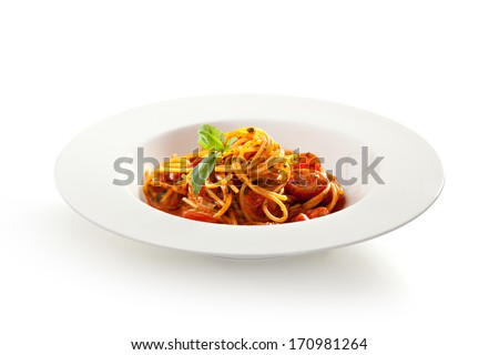 Spaghetti with Tomato and Basil Leaf - stock photo