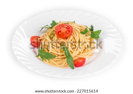 Spaghetti with tomato basil and cheese. Isolated on a white background.