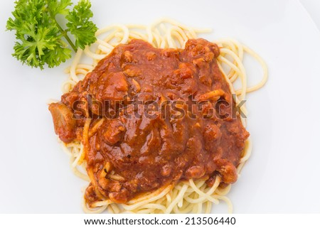 spaghetti with tomato chicken sauce